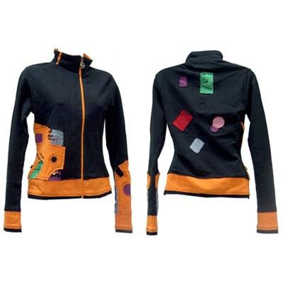 Waggle Girls Zip Knit - Black/Orange