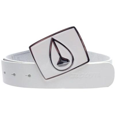Enamel Icon Buckle Leather Belt - White/White