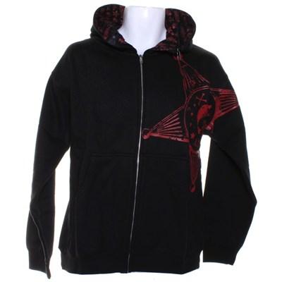 Badge Zip Hood - Black