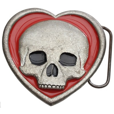 Skull in Heart Buckle