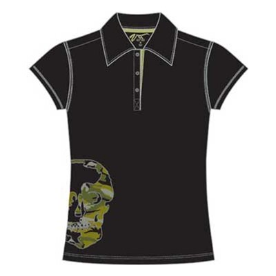 Side Skull Girls S/S Polo Shirt - Black