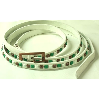 Forum White Leather Belt