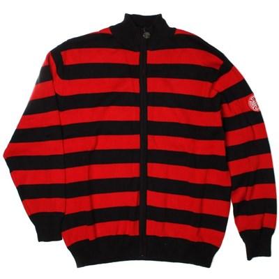 Agnew Striped Knit Zip Crew