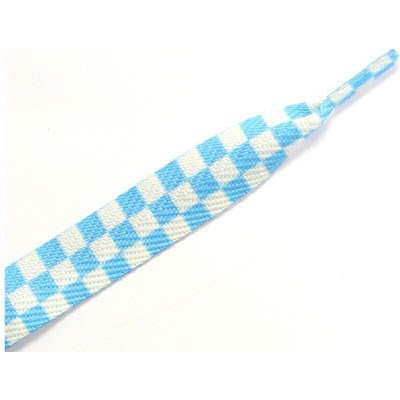 11404 Checker White/Sky Blue Thick Laces