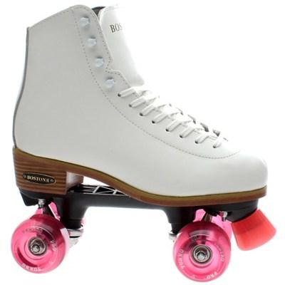 Boston II White Leather Quad Roller Skate