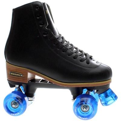 Boston II Black Leather Quad Roller Skate