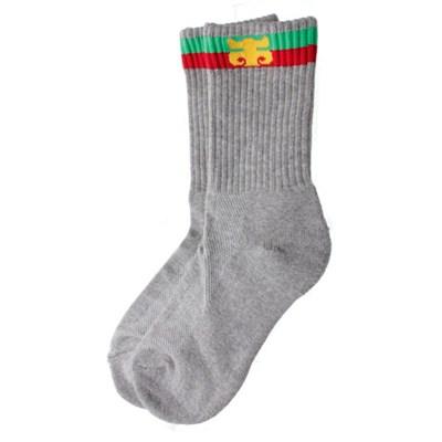 Stripe Calf Charcoal Socks