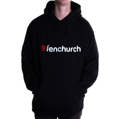Word Applique Pullover Hoody - Black