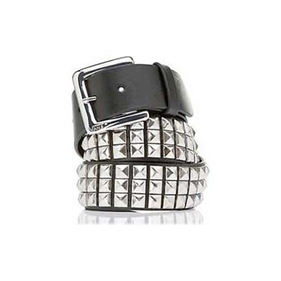 Vstud Leather Belt - Black/Silver