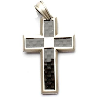 Tech Cross Silver Matte Pendant