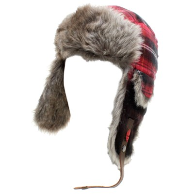 Plaid Fur 2 Beanie - Red Plaid