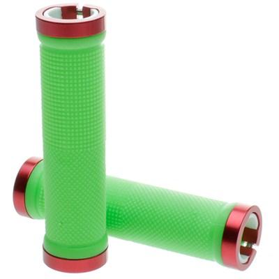 Kraton Scooter Handlebar Grips - Green/Red Alloy Rings