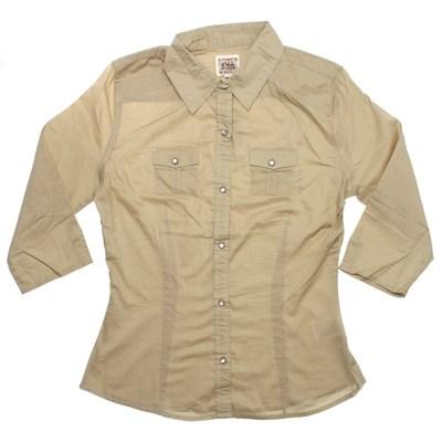 Suzie Q 3/4 Solid Shirt - Khaki