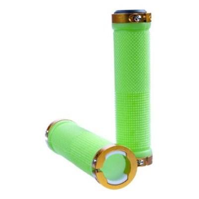 Kraton Scooter Handlebar Grips - Green/Gold Alloy Rings