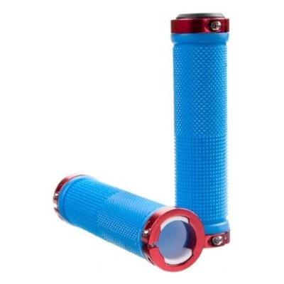 Kraton Scooter Handlebar Grips - Blue/Red Alloy Rings