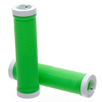 Kraton Scooter Handlebar Grips - Green/White Alloy Rings