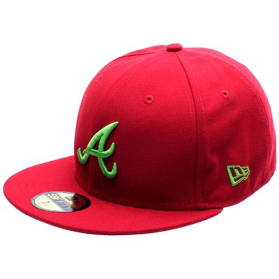 Seasonal Contrast MLB Atlanta Braves New Era Cap - Scarlet/Lime