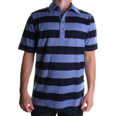 Block Knit S/S Polo Shirt - Navy Heather