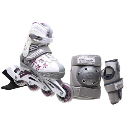 Bladerunner Phaser G Combo Girls Recreational Inline Skate - White/Purple Stars