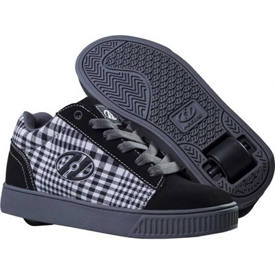 Straight Up Black/Plaid/Charcoal/White Heely Shoe