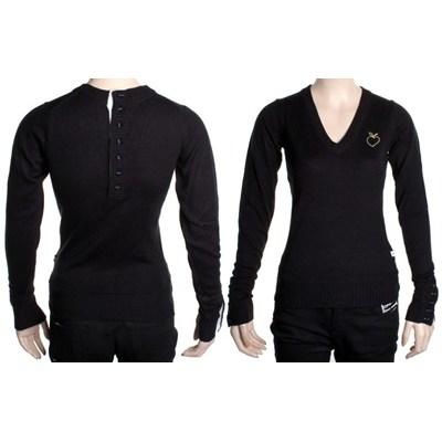 Apple Heart Deep V-Neck Sweater - Black