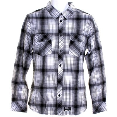 AV Plaid L/S Shirt - White Black