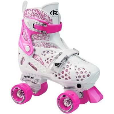 Trac Star White/Pink Quad Roller Skates