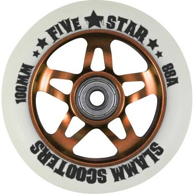 Image of 5 Star Alloy Core Scooter Wheel and Bearings - Orange