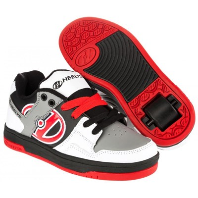 Flow White/Black/Grey/Red Kids Heely Shoe