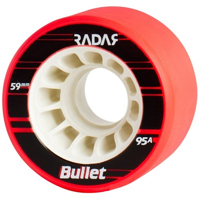 Bullet 59mm/95a Roller Derby Skate Wheels- Neon Red