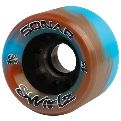 Sonar Swirlz  62mm/95a Roller Skate Wheels- Red/Blue