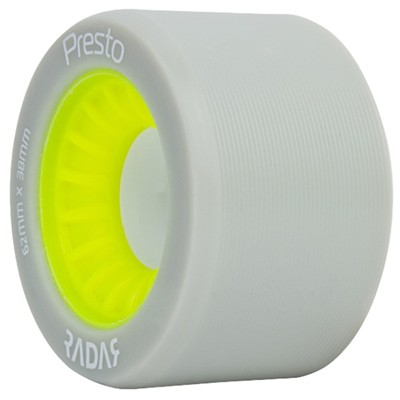 Presto 62mm/91a Roller Skate Wheels- Grey/Yellow