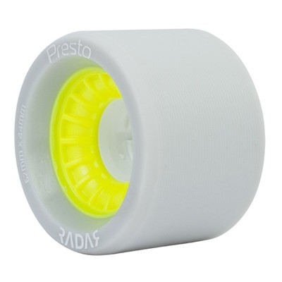 Presto Wide 62mmx44mm/91a Roller Skate Wheels- Grey/Yellow