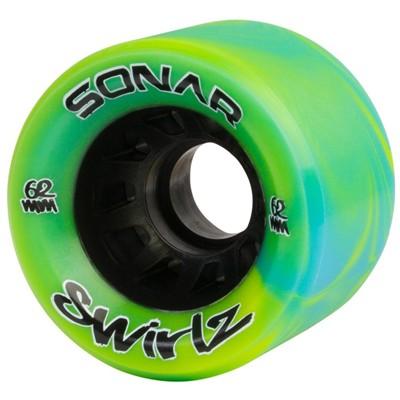 Sonar Swirlz 62mm/95a Roller Skate Wheels- Yellow/Blue