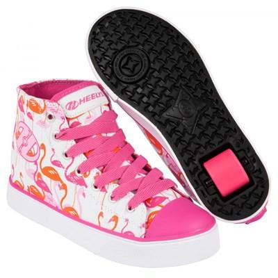 Veloz White/Pink/Flamingos Kids Heely Shoe