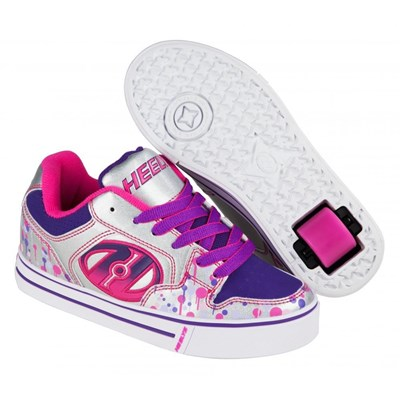 Motion Plus Silver/Pink/Purple Drip Heely Shoe