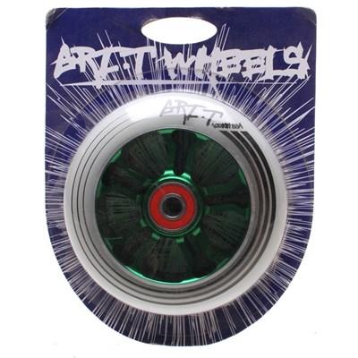 Ultra Light 100mm Aluminium Hub Scooter Wheel with Bearing - Green