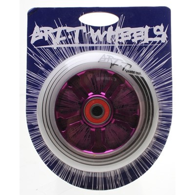 Ultra Light 100mm Aluminium Hub Scooter Wheel with Bearing - Purple