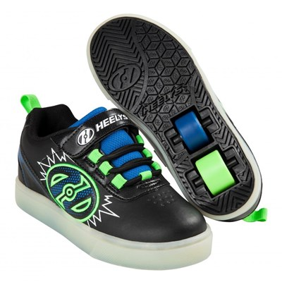 POW Lighted Black/Blue/Green Kids Heely X2 Shoe