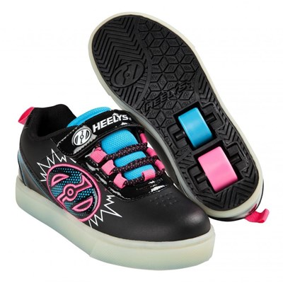 POW Lighted Black/Neon Blue/Neon Pink Kids Heely X2 Shoe