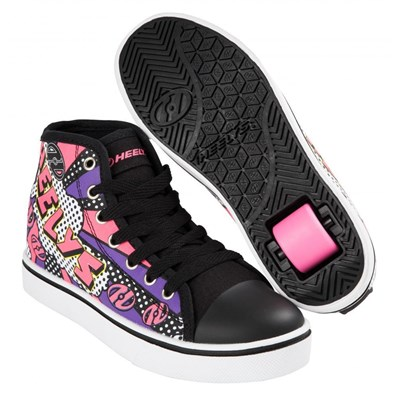 Veloz Black/White/Pink/Comic Kids Heely Shoe