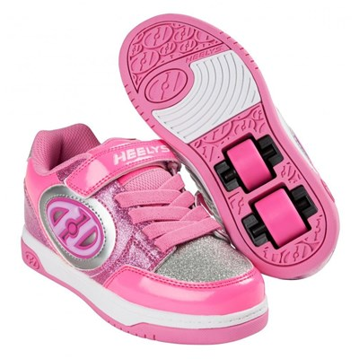 Plus Lighted Neon Pink/Light Pink/Silver Kids Heely X2 Shoe