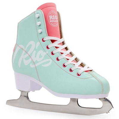 Script Ice Skates - Teal/Coral