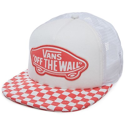 Beach Girl Trucker Cap - Spiced Coral Checkerboard V00H5LP39