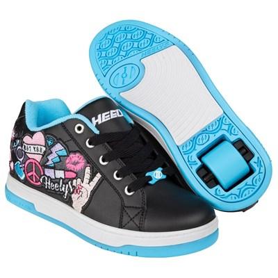 Split Black/Aqua/Peace Patch Kids Heely Shoe