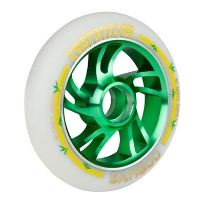 Bamboo Aluminium Hub Scooter Wheel - White/Green