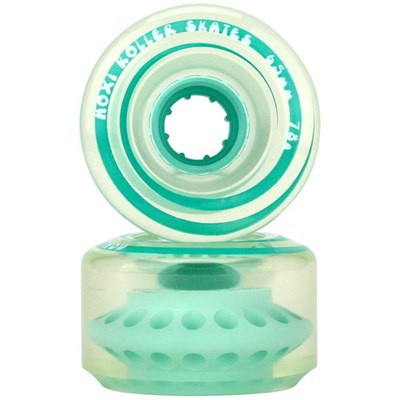 Outdoor Classic 65mm/78a Roller Skate Wheels - Clear/Teal
