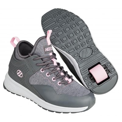 Piper Charcoal/Light Pink Kids Heely Shoe