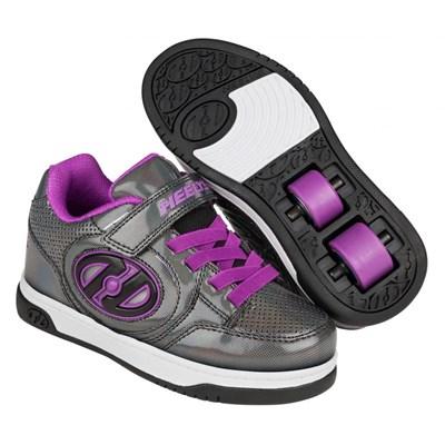 Plus Lighted Black Sparkle/Purple Kids Heely X2 Shoe