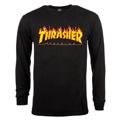 Flame Logo L/S T-Shirt - Black